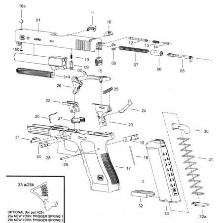 Détente Glock - Calibre 45ACP, 10mm